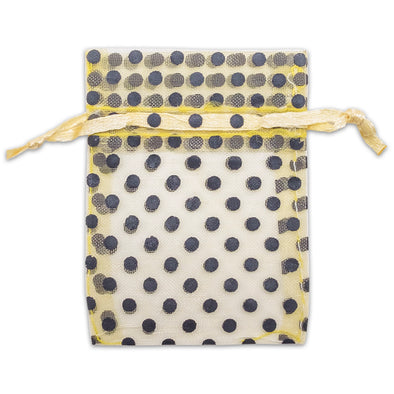 "2"" x 3"" Gold with Black Polka Dot Organza Drawstring Pouch Gift Bags"