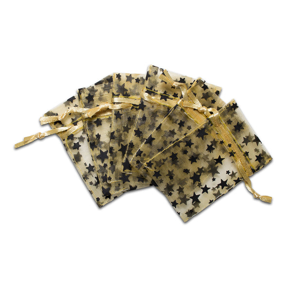 "2"" x 3"" Gold with Black Star Organza Drawstring Pouch Gift Bags"