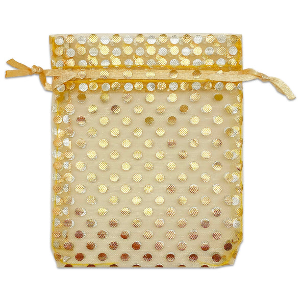 "2"" x 3"" Gold with Gold Polka Dot Organza Drawstring Pouch Gift Bags"
