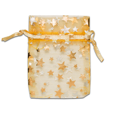 "2"" x 3"" Gold with Gold Star Organza Drawstring Pouch Gift Bags"