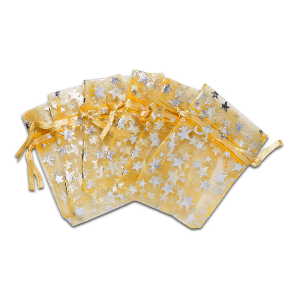 "2"" x 3"" Gold with Silver Star Organza Drawstring Pouch Gift Bags"