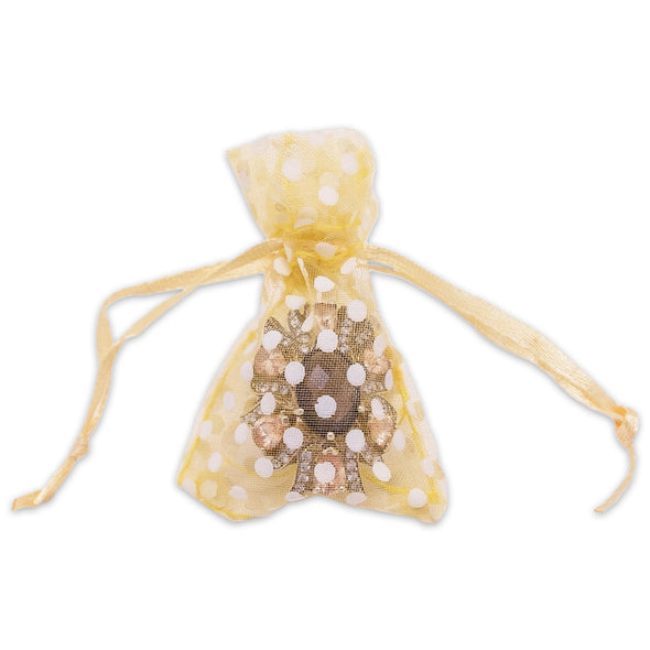 "2"" x 3"" Gold with White Polka Dot Organza Drawstring Pouch Gift Bags"
