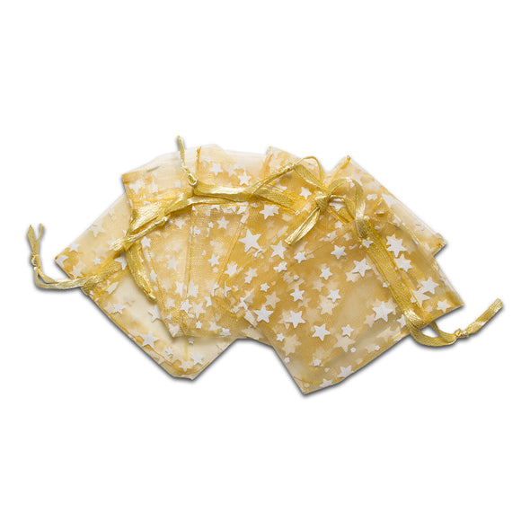 "2"" x 3"" Gold with White Star Organza Drawstring Pouch Gift Bags"