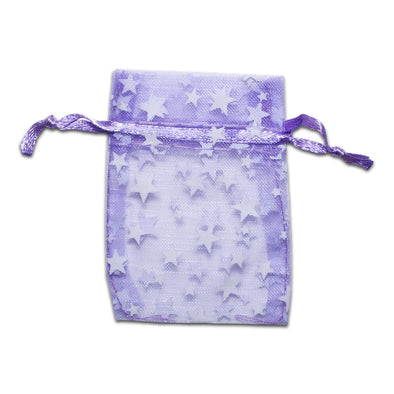 "2"" x 3"" Lavender with White Star Organza Drawstring Pouch Gift Bags"