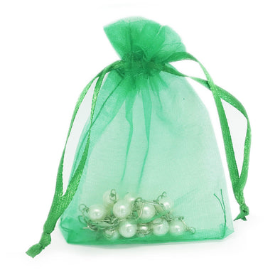Light Green Organza Drawstring Pouches