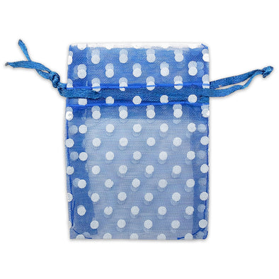 "2"" x 3"" Navy with White Polka Dot Organza Drawstring Pouch Gift Bags"