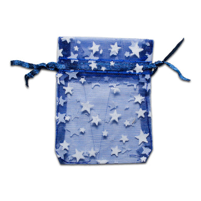 "2"" x 3"" Navy with White Star Organza Drawstring Pouch Gift Bags"
