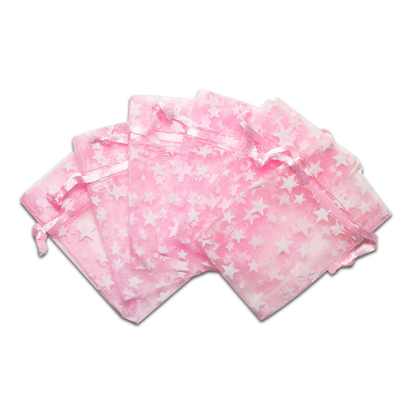 "2"" x 3"" Pink with White Star Organza Drawstring Pouch Gift Bags"