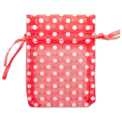 "2"" x 3"" Red with White Polka Dot Organza Drawstring Pouch Gift Bags"