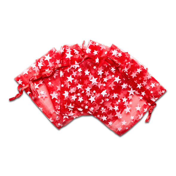 "2"" x 3"" Red with White Star Organza Drawstring Pouch Gift Bags"