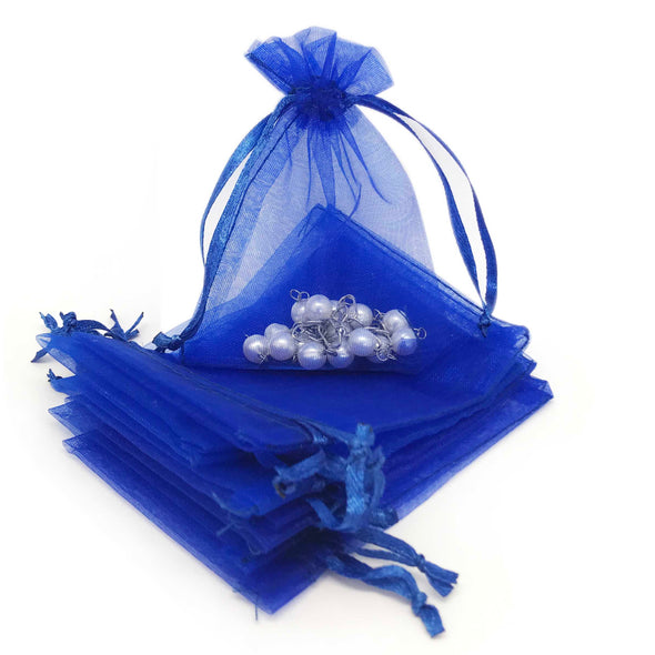 "2"" x 3"" Royal Blue Organza Drawstring Pouches"