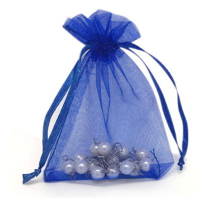 Royal Blue Organza Drawstring Pouches