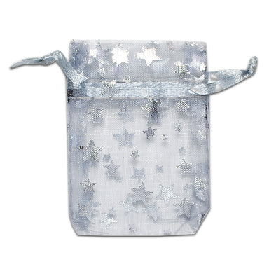 "2"" x 3"" Silver with Silver Star Organza Drawstring Pouch Gift Bags"