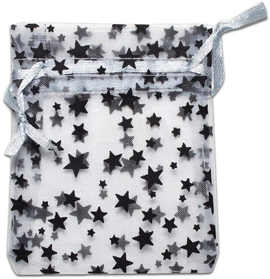 "2"" x 3"" Silver with Black Star Organza Drawstring Pouch Gift Bags"