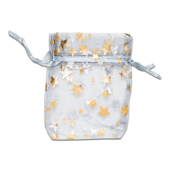 "2"" x 3"" Silver with Gold Star Organza Drawstring Pouch Gift Bags"