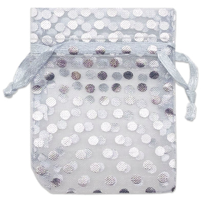 "2"" x 3"" Silver with Silver Polka Dot Organza Drawstring Pouch Gift Bags"
