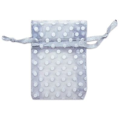 "2"" x 3"" Silver with White Polka Dot Organza Drawstring Pouch Gift Bags"
