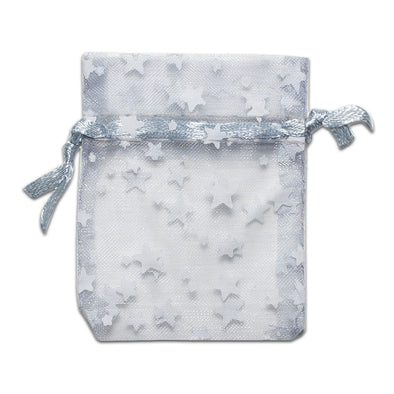 "2"" x 3"" Silver with White Star Organza Drawstring Pouch Gift Bags"