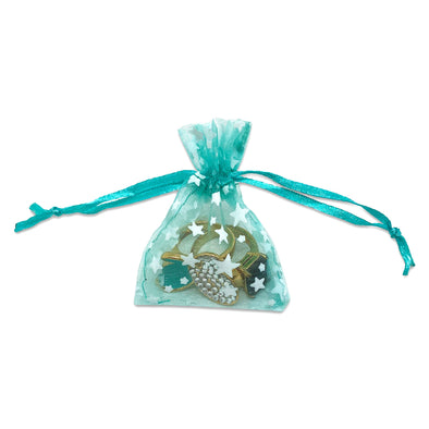 "2"" x 3"" Teal with White Star Organza Drawstring Pouch Gift Bags"