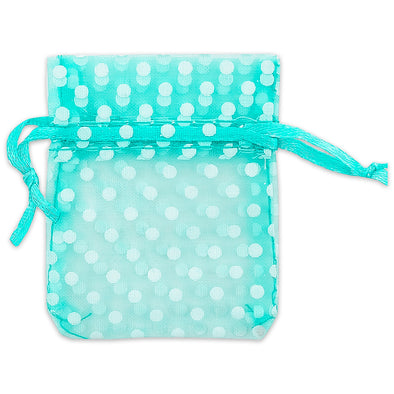 "2"" x 3"" Teal with White Polka Dot Organza Drawstring Pouch Gift Bags"
