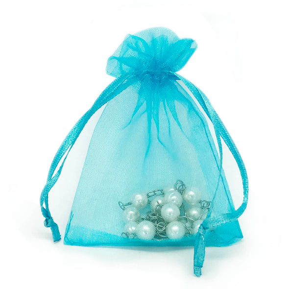 "2"" x 3"" Turquoise Organza Drawstring Pouches"