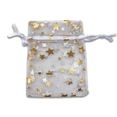 "2"" x 3"" White and Gold Star Organza Drawstring Pouch Gift Bags"