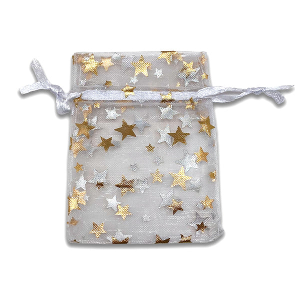 "2"" x 3"" White with Gold Star Organza Drawstring Pouch Gift Bags"