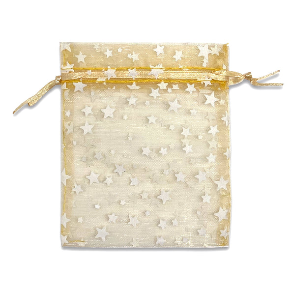 "3"" x 4"" Gold with White Star Organza Drawstring Pouch Gift Bags"
