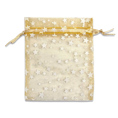 Gold with White Star Organza Drawstring Pouch Gift Bags