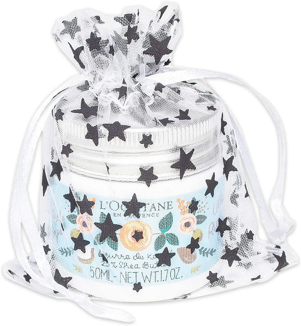 "2"" x 3"" White with Black Star Organza Drawstring Pouch Gift Bags"