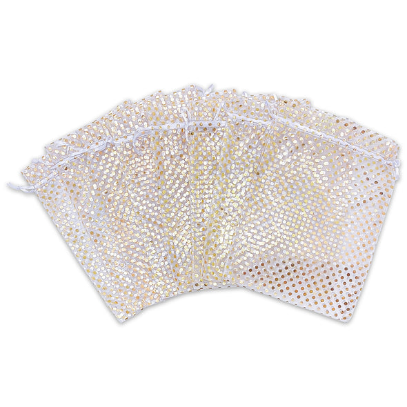 "2"" x 3"" White with Gold Polka Dot Organza Drawstring Pouch Gift Bags"