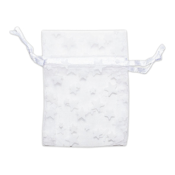 "2"" x 3"" White with White Star Organza Drawstring Pouch Gift Bags"