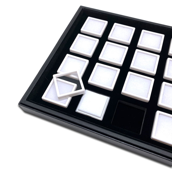 20 White Gem Boxes with Black Wood Tray