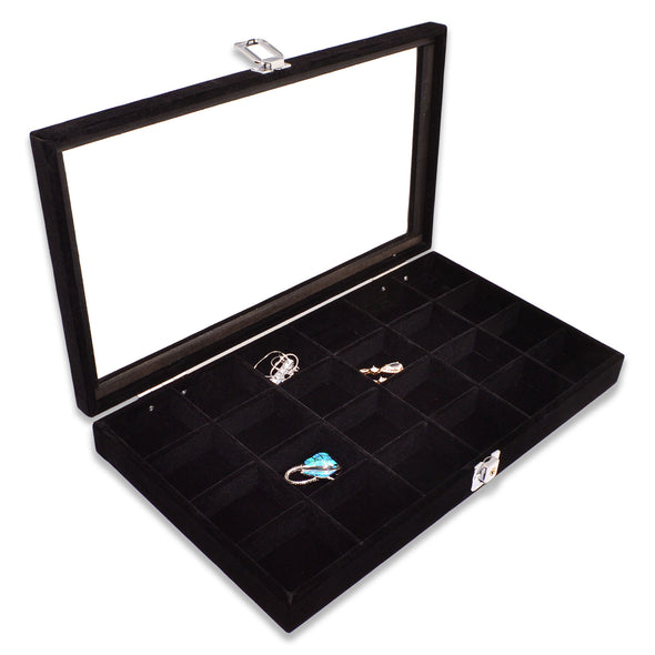 24 Compartment Black Velvet Display Case w/ Glass Top and Key