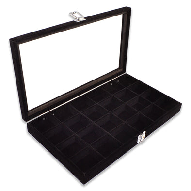 "14 3/4"" x 8 1/4"" 24 Compartment Black Velvet Display Case w/ Glass Top and Key"