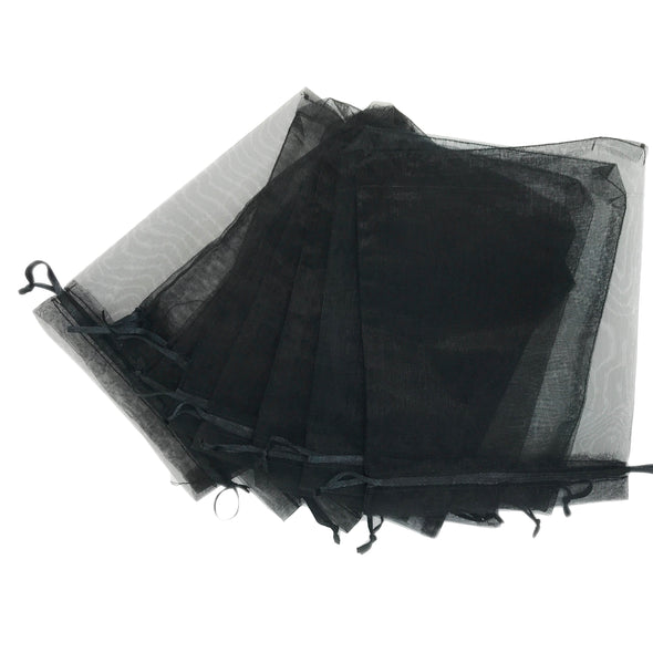 "2""X3"" Black Organza Drawstring Pouches"