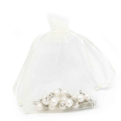 Cream Color Organza Drawstring Pouches
