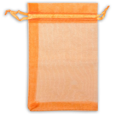 "6"" x 8"" Orange Organza Drawstring Pouches"