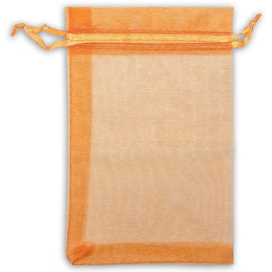 Orange Organza Drawstring Pouches