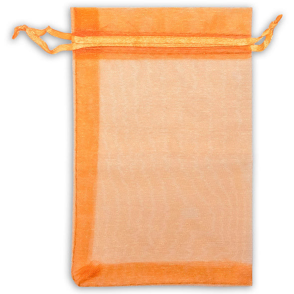 "2"" x 3"" Orange Organza Drawstring Pouches"