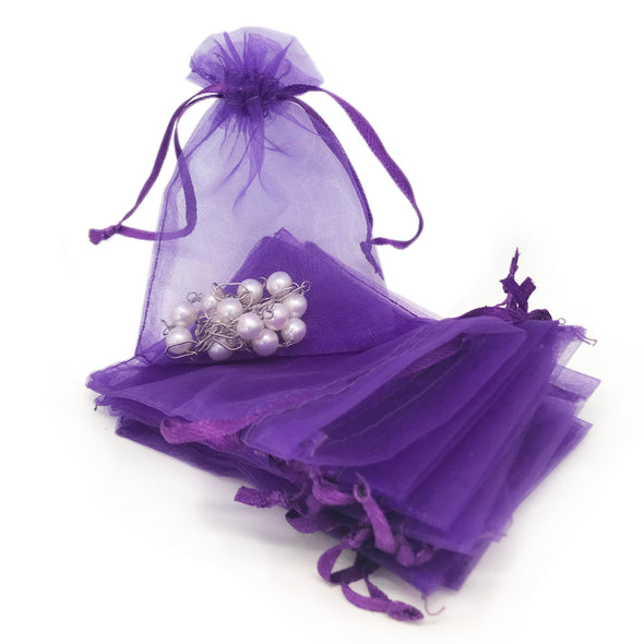 Dark Purple Organza Drawstring Pouches
