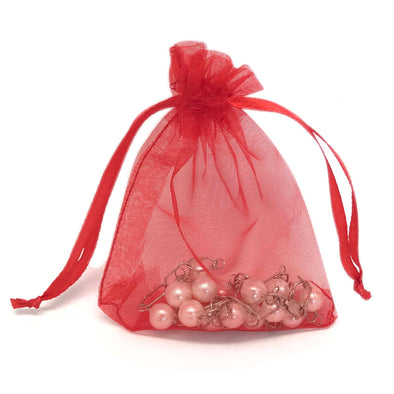 "2""x3"" Red Organza Drawstring Pouches"
