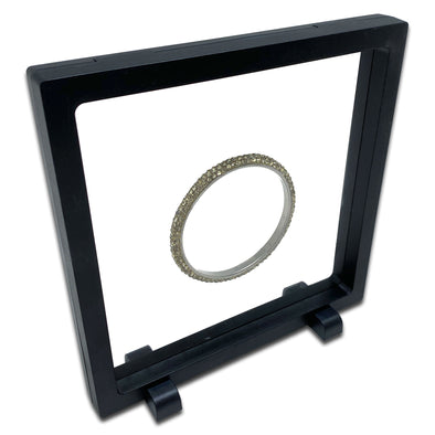 "3 1/2"" x 3 1/2"" Black Floating Frame Jewelry Display Case"