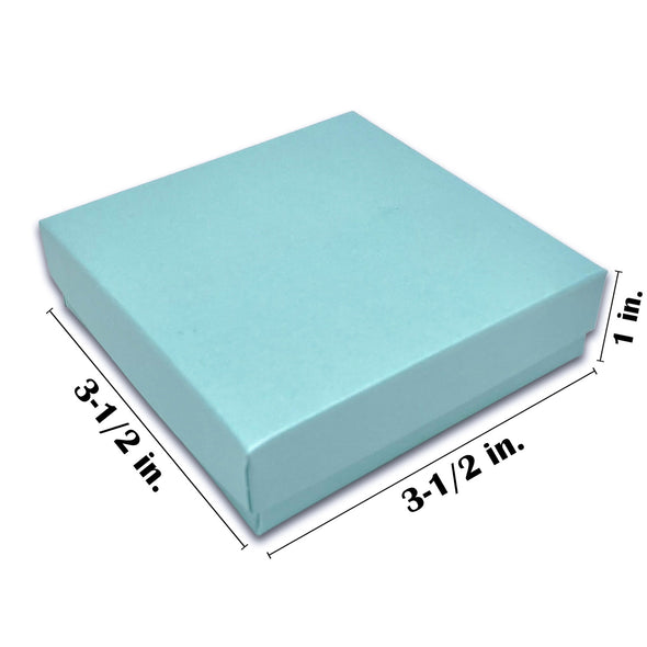 "3 1/2"" x 3 1/2"" x 1"" Light Pearl Teal Cotton Filled Paper Box"