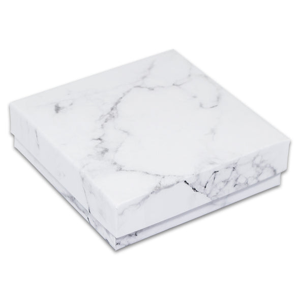 "3 1/2"" x 3 1/2"" x 1"" Marble White Cotton Filled Paper Box"