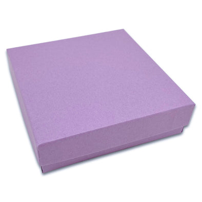 "3 1/2"" x 3 1/2"" x 1"" Matte Purple Cotton Filled Paper Box"