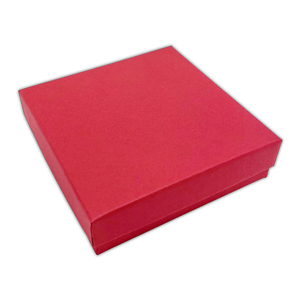 "3 1/2"" x 3 1/2"" x 1"" Matte Red Cotton Filled Paper Box"