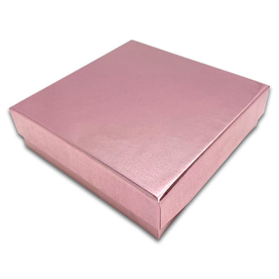 "3 1/2"" x 3 1/2"" x 1"" Metallic Rose Gold Cotton Filled Paper Box"