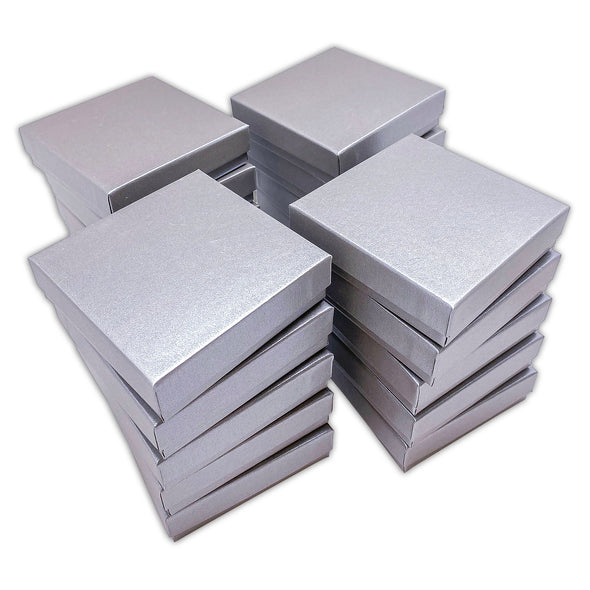 "3 1/2"" x 3 1/2"" x 1"" Pearl Gray Cotton Filled Paper Box"