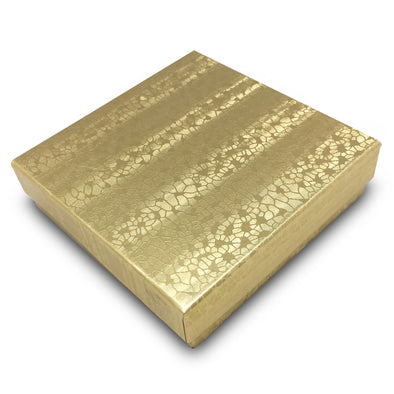"3 1/2""Wx 3 1/2"" DX 1""H Gold Cotton Filled Paper Box"